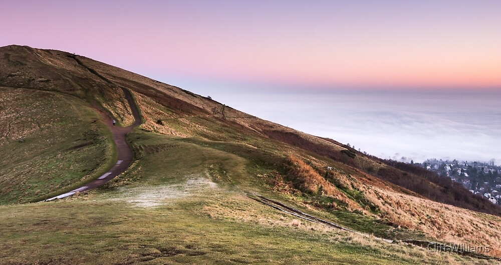 A pink and white morning, Malvern Hills, Worcestershire, England by Cliff Williams