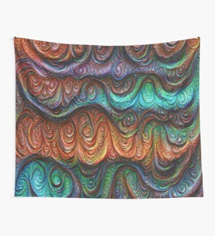 Frozen forest liquid lines and waves #DeepDream Wall Tapestry