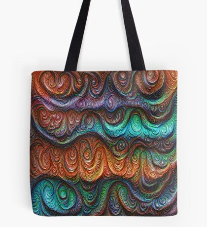 Frozen forest liquid lines and waves #DeepDream Tote Bag