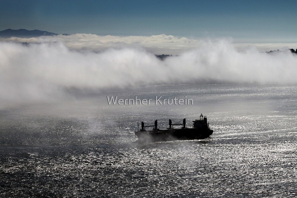 Ship Passes Through the Mysty Fog of the Golden Gate by Wernher Krutein