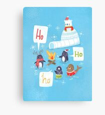 Penguins & Igloos Holiday Card Canvas Print