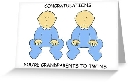 congratulations you re grandparents to twin boys greeting cards