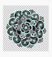 Mint & Charcoal Mandala Flower on Black Polka Dots Photographic Print