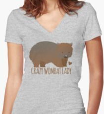 Crazy wombat lady Women's Fitted V-Neck T-Shirt