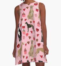 Greyhound-Valentinsgrußtageskleine kuchen und Herzhaustierporträt-Gewohnheitshundepersonen-Geschenk-Windhunde A-Linien Kleid