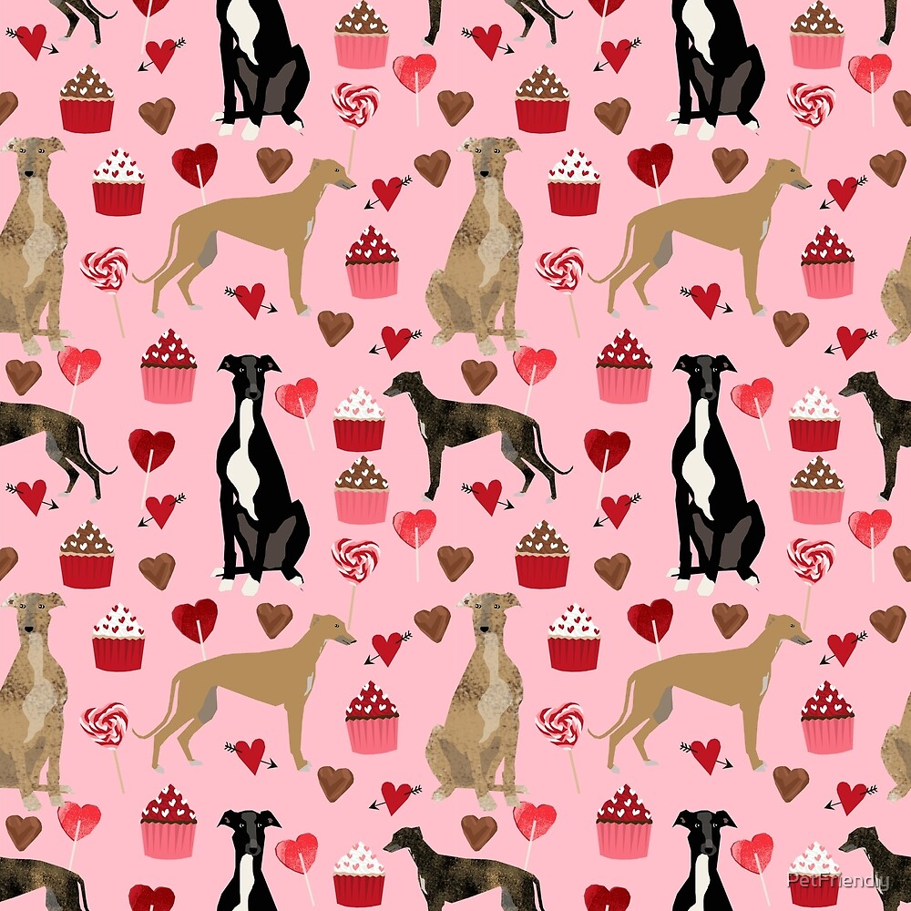 Greyhound valentines day cupcakes and hearts pet portrait custom dog person gifts greyhounds by PetFriendly
