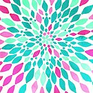 Radiant Dahlia 2 - mint, teal, magenta, pink watercolor pattern by Tangerine-Tane