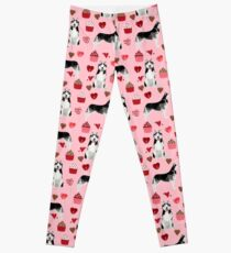 Husky Siberian Huskies dog breed valentines day love pattern print by pet friendly for dog person Leggings