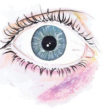 Hand-Drawn Realistic Cartoon Eye by laurenroche00