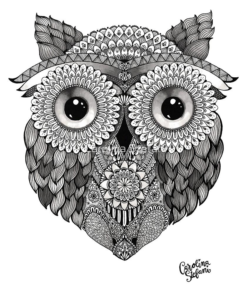 Black and White Owl by Carolina Stefani