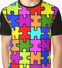 Colorful rainbow jigsaw puzzle pattern Graphic T-Shirt