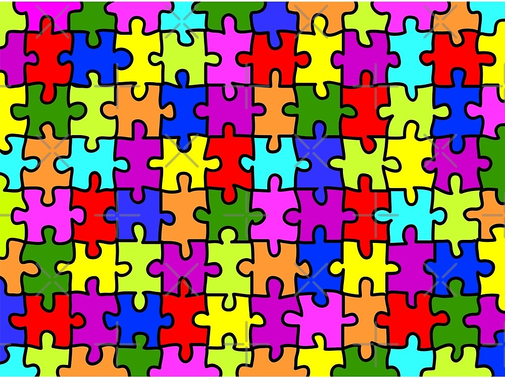 Colorful rainbow jigsaw puzzle pattern by pixxart