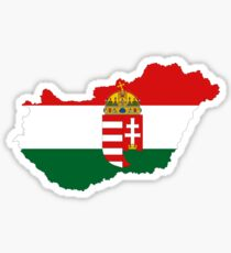 Hungary Flag Map with Coat of Arms Sticker