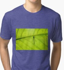 Dragonfly on green leaf black contour Tri-blend T-Shirt