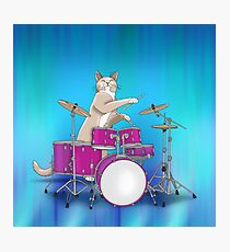 Cat Playing Drums - Blue Photographic Print