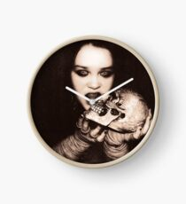 Gothic Girl with Skull Clock