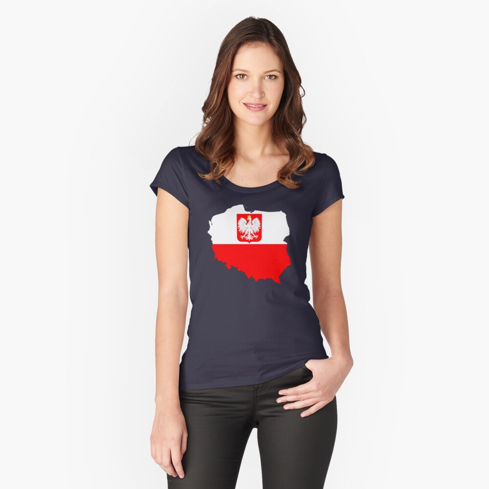 Poland Flag Map with Coat of Arms Women's Fitted Scoop T-Shirt Front