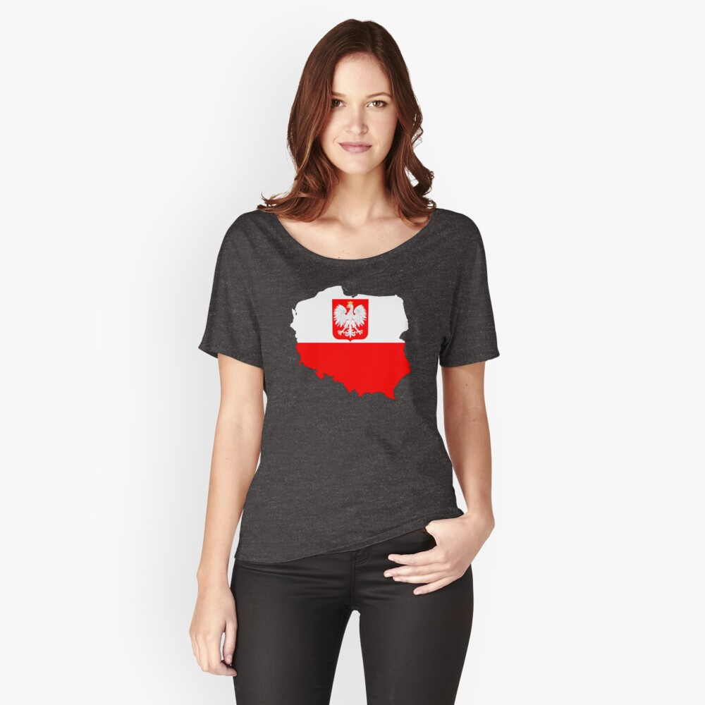 Poland Flag Map with Coat of Arms Women's Relaxed Fit T-Shirt Front