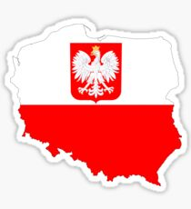 Poland Flag Map with Coat of Arms Sticker