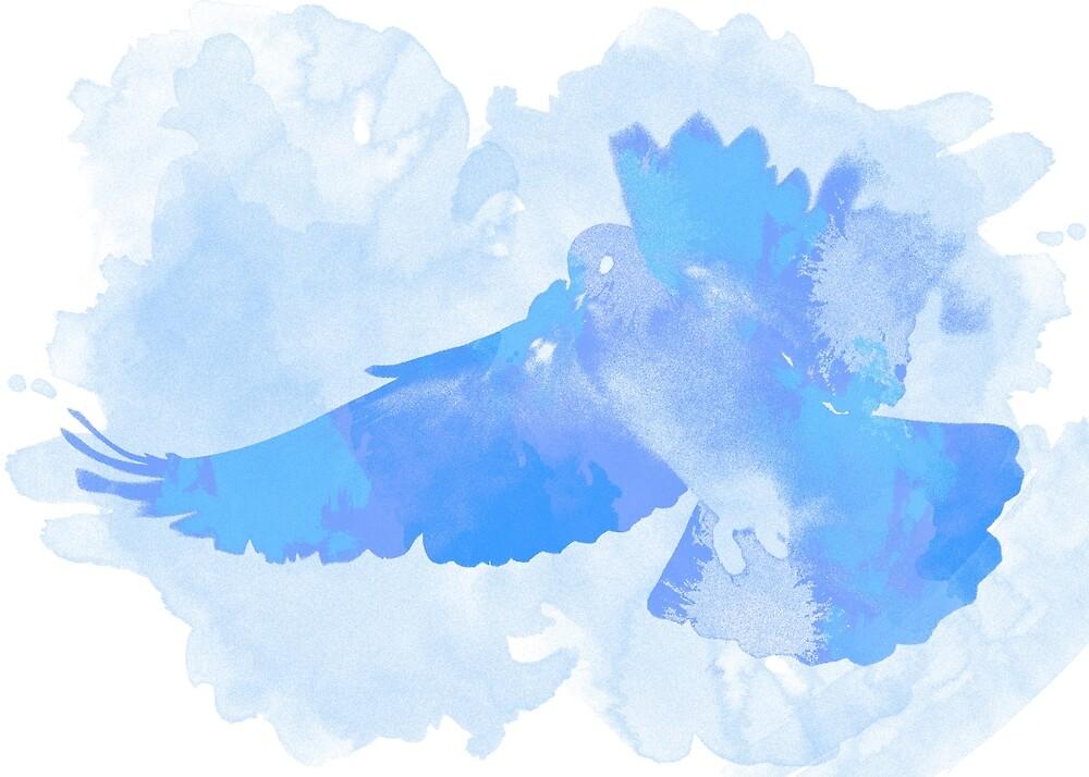 The flight of a blue dove by Andrea Mazzocchetti