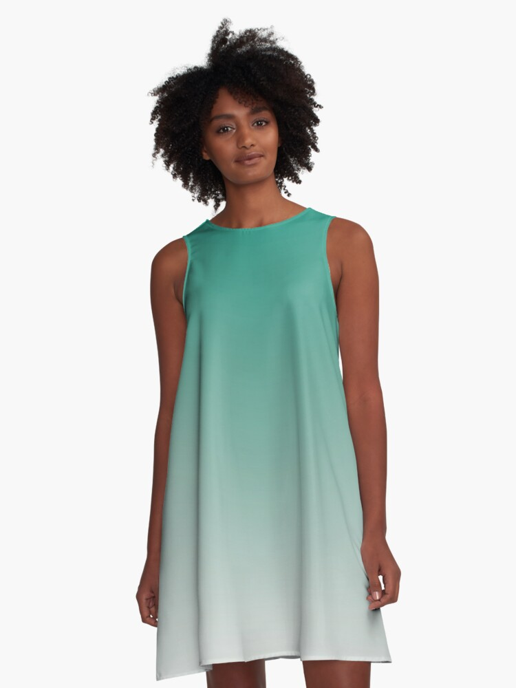 gradient color fading design green, grey A-Line Dress Front