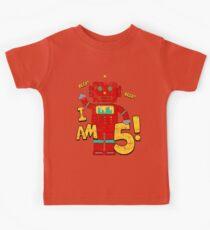 Retro Robot 5th Birthday Party Kids Tee