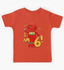 Retro Robot 6th Birthday Party Kids Tee