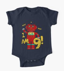 Retro Robot 9th Birthday Party One Piece - Short Sleeve