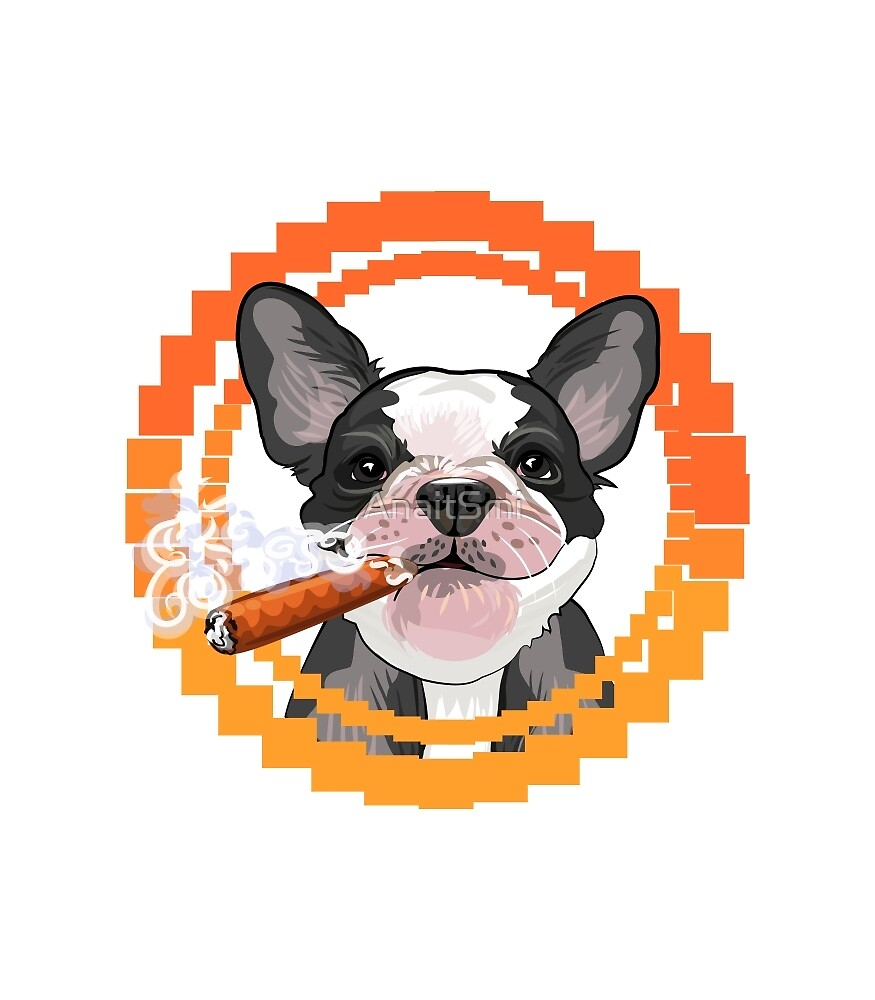 Cute dog head with a Cuban cigar by AnaitSmi