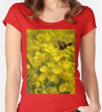 Yellow flower and bee Women's Fitted Scoop T-Shirt