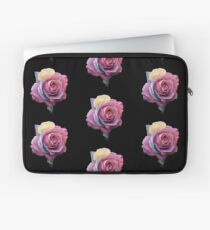 Flowers Pink Roses Shape Black Background Abstract Laptop Sleeve