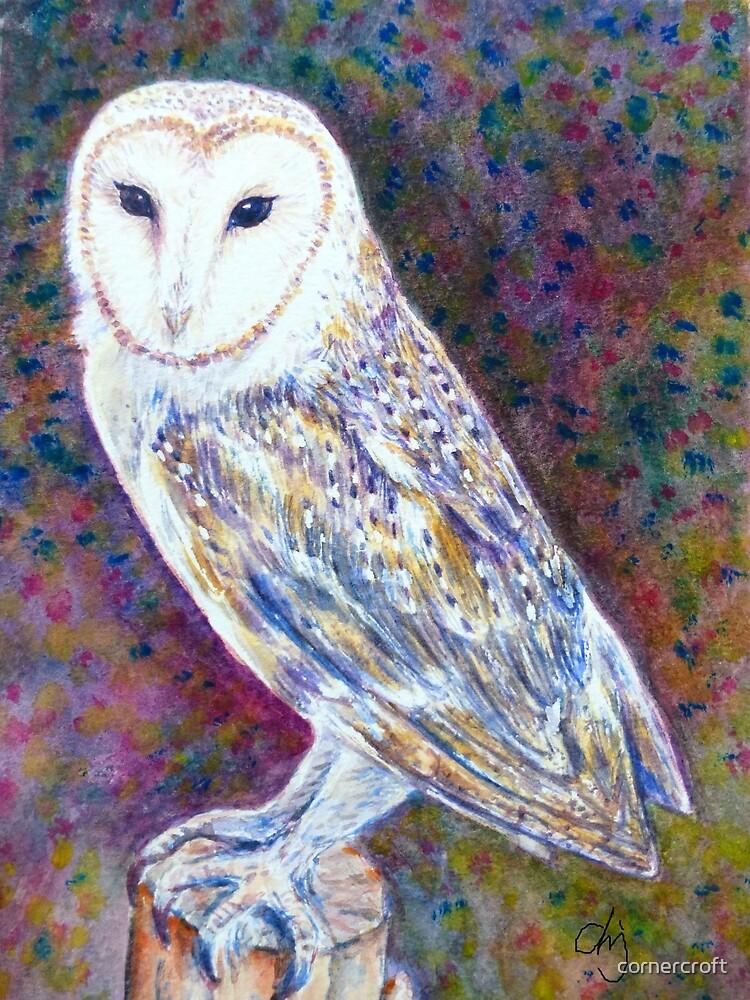 Watercolor Barn Owl by cornercroft