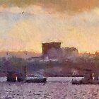 Wexford Town Bridge & harbour skyline, Ireland at Sunset by David Carton