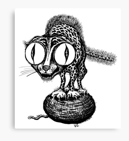 Crazy Cat surreal black and white pen ink drawing Canvas Print