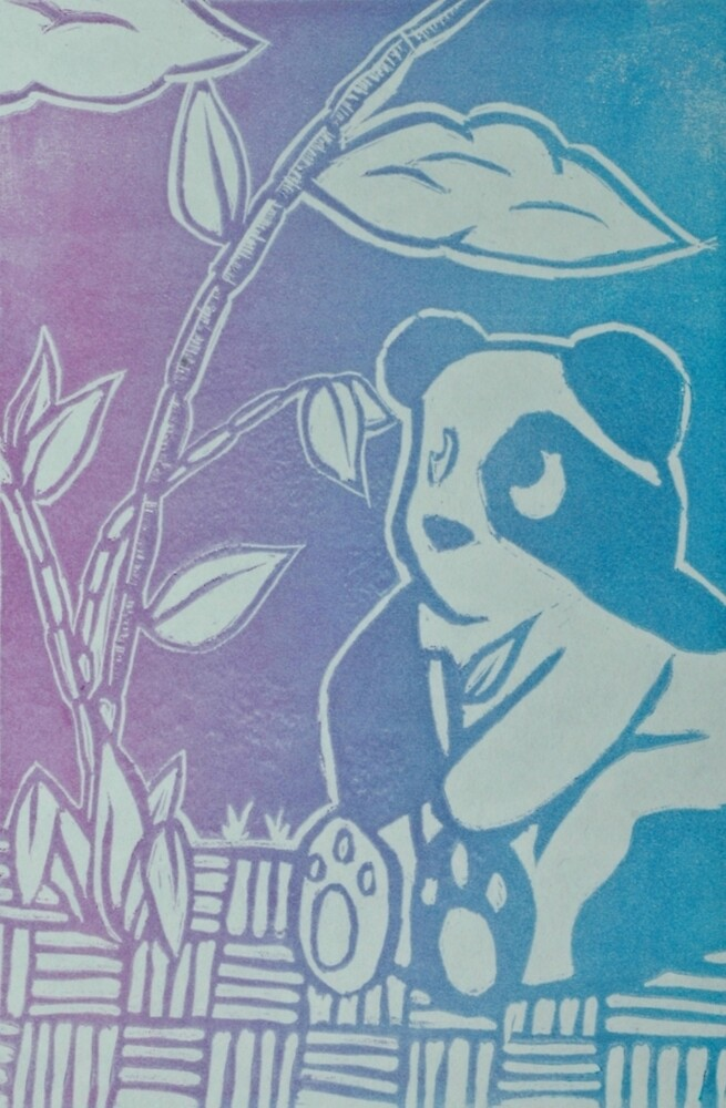 Panda Print, Color Blend, Relief Printmaking, Linocut Print by 0reoPenguin