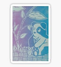 Panda Print, Color Blend, Relief Printmaking, Linocut Print Sticker