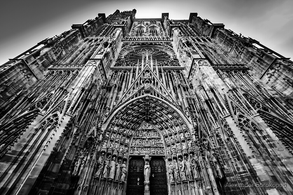 Strasbourg cathedral black and white view, France by Alexander Sorokopud
