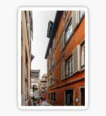 Little street in old historical center of Strasbourg, France Sticker