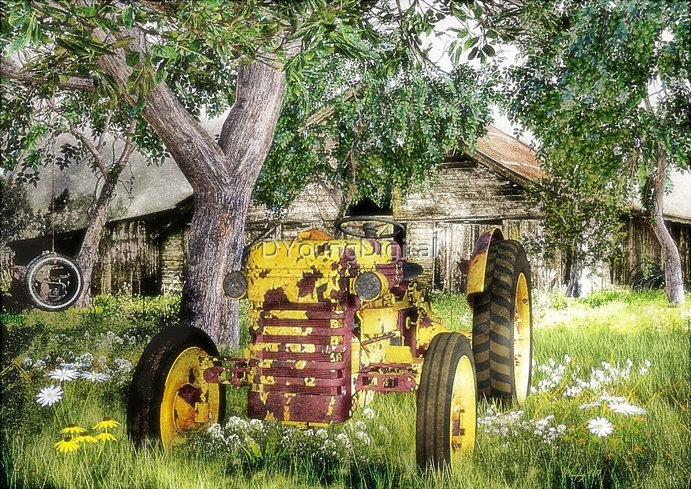 Old Barn And Tractor by DYoungDigital