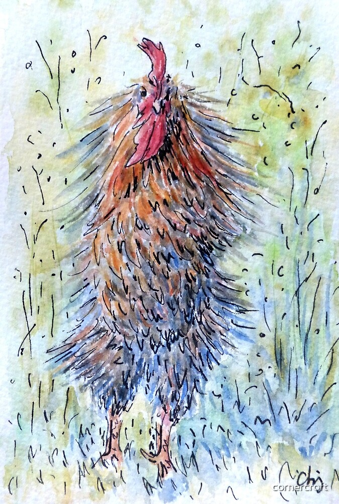 Watercolor Rooster Shake it by cornercroft