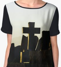 Christian cross silhouette on abbey  cemetary, France Women's Chiffon Top