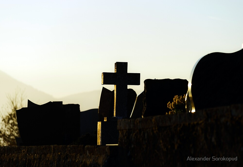 Christian cross silhouette on abbey  cemetary, France by Alexander Sorokopud