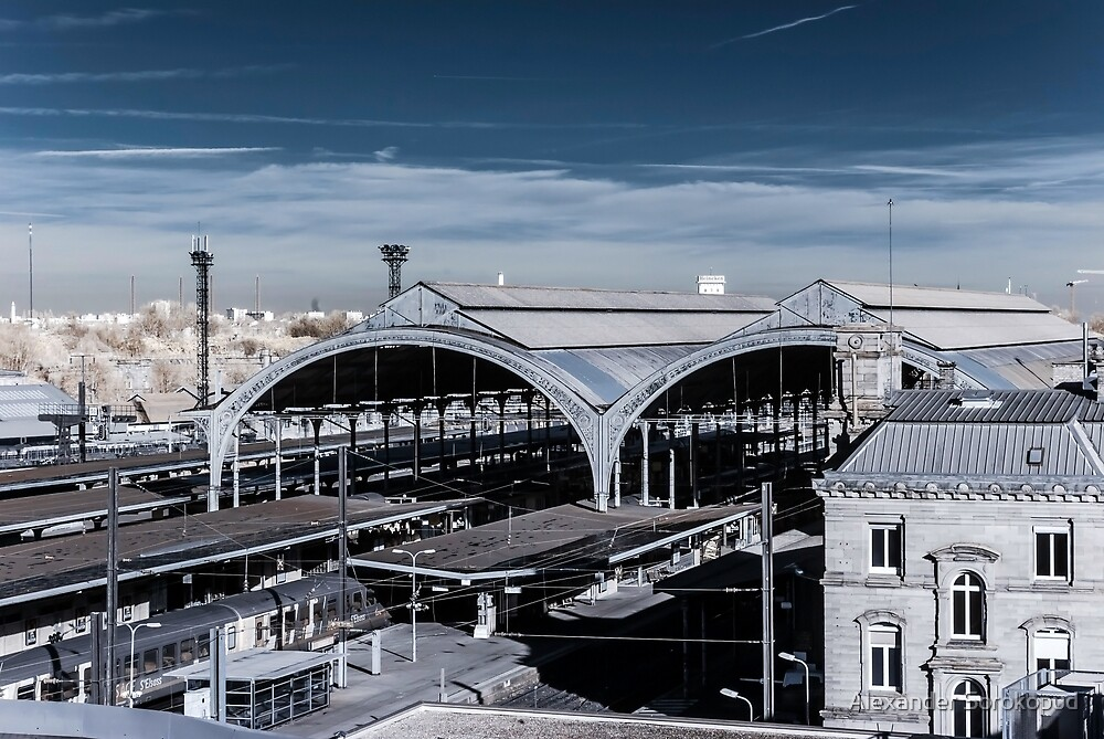 Central railway station in Strasbourg, France, infrared view by Alexander Sorokopud