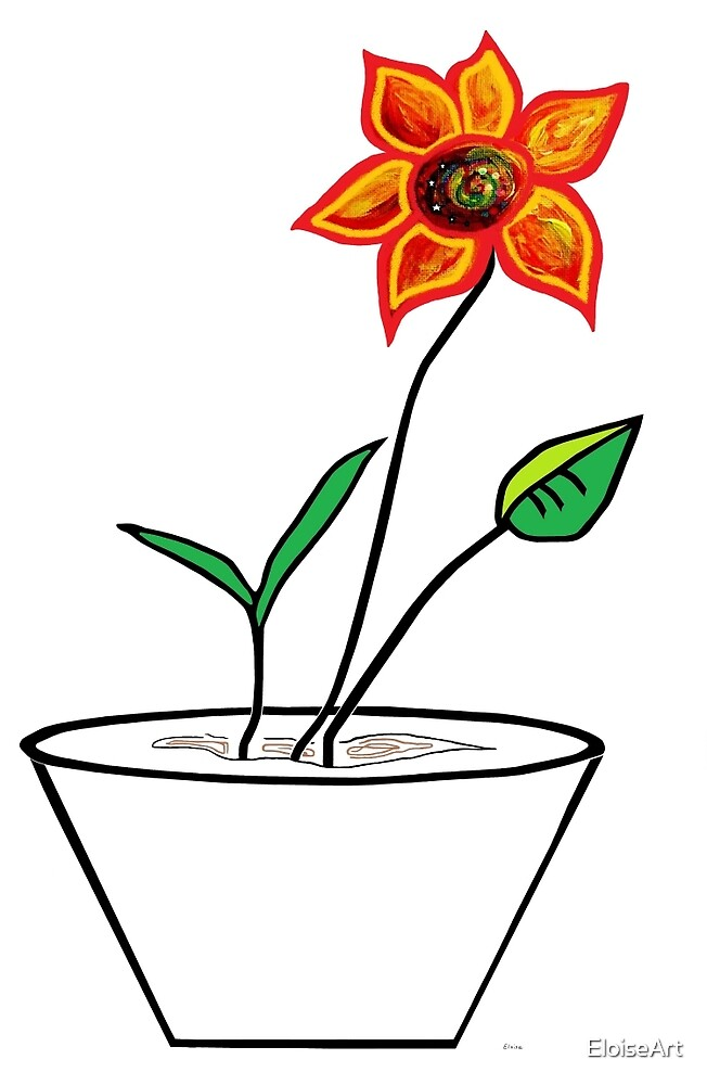 Minimalist Flower in a Pot by EloiseArt