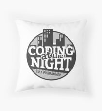 Coding At The Night Throw Pillow