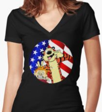 Calvin and hobbes america Women's Fitted V-Neck T-Shirt