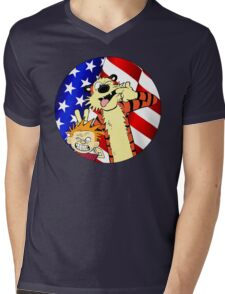 Calvin and hobbes america Mens V-Neck T-Shirt