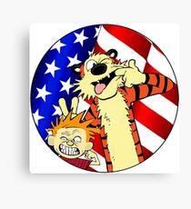 Calvin and hobbes america Canvas Print