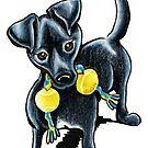 Small Black Dog Tucker by offleashart