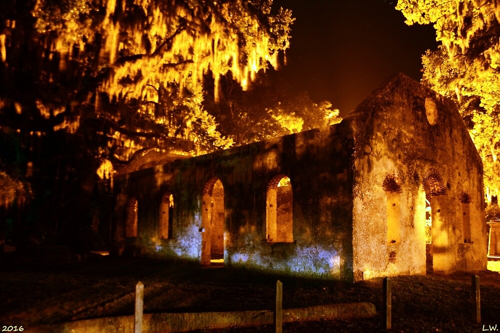 Chapel Of Ease St. Helena Island At Night by LisaWootenPhoto